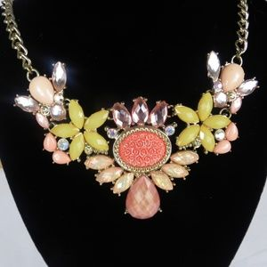 Rhinestone Statement Necklace  Floral Choker Bib